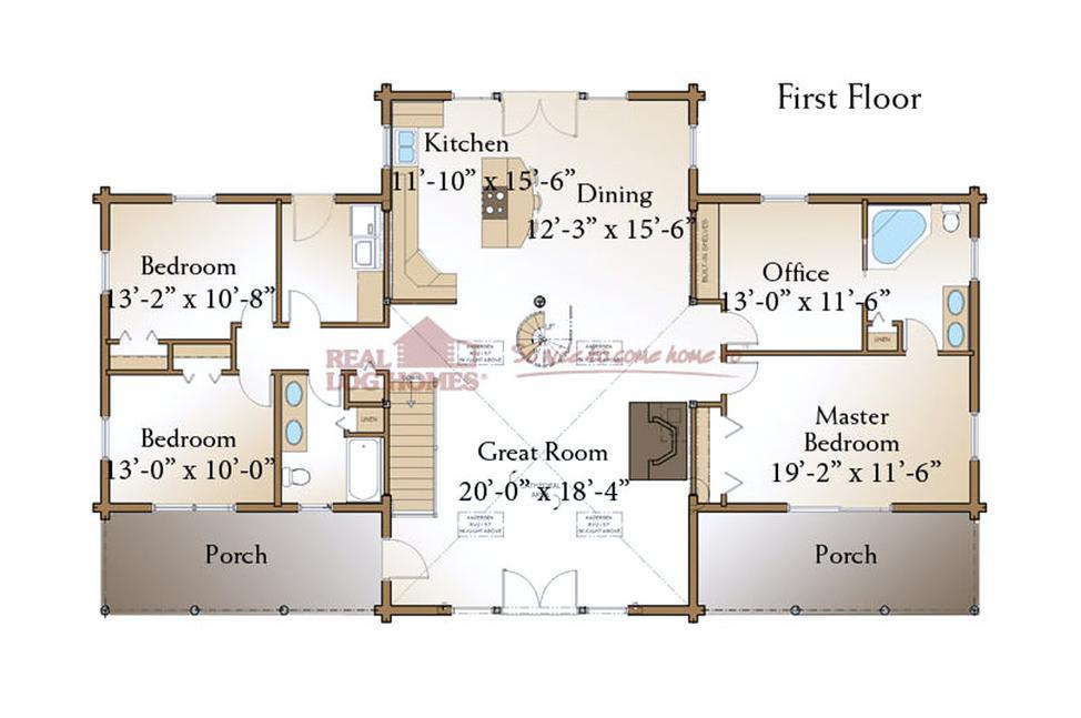 Richmond Log Home Floorplan Ranch Floor To Ceiling Windows