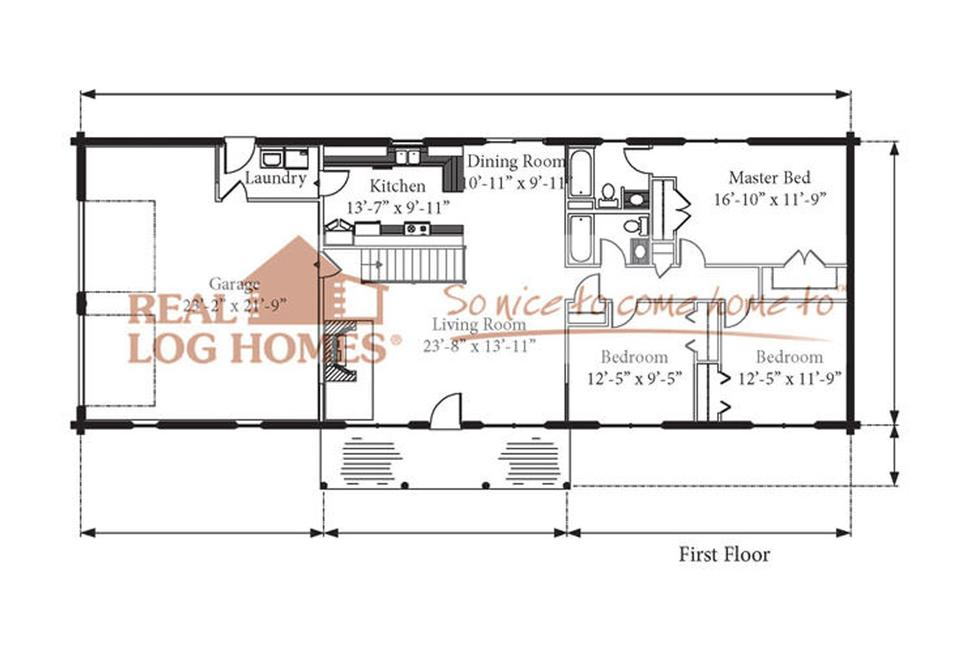 Teton Economical Ranch Log Home Floorplan 2 Car Garage Farmer S Porch